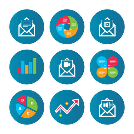 Business pie chart. Growth curve. Presentation buttons. Mail envelope icons. Message document symbols. Video and Audio voice message signs. Data analysis. Vector