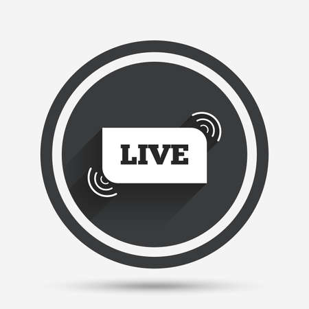 live stream sign: Live sign icon. On air stream symbol. Circle flat button with shadow and border. Vector