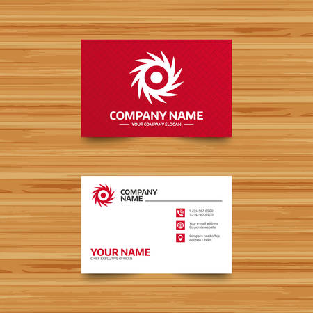 cutting blade: Business card template. Saw circular wheel sign icon. Cutting blade symbol. Phone, globe and pointer icons. Visiting card design. Vector Illustration