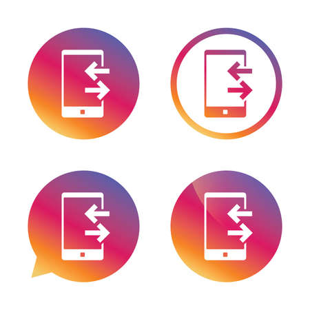 outcoming: Incoming and outcoming calls sign icon. Smartphone symbol. Gradient buttons with flat icon. Speech bubble sign. Vector