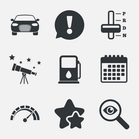 automatic transmission: Transport icons. Car tachometer and automatic transmission symbols. Petrol or Gas station sign. Attention, investigate and stars icons. Telescope and calendar signs. Vector Illustration