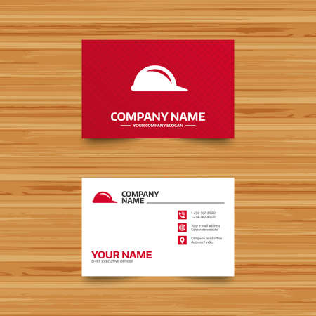 hard hat icon: Business card template. Hard hat sign icon. Construction helmet symbol. Phone, globe and pointer icons. Visiting card design. Vector