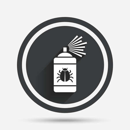 acarus: Bug disinfection sign icon. Fumigation symbol. Bug sprayer. Circle flat button with shadow and border. Vector
