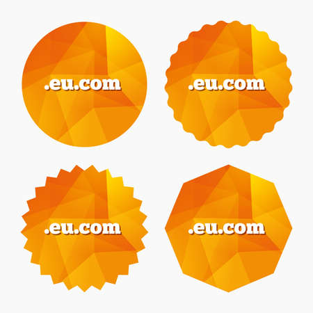 subdomain: Domain EU.COM sign icon. Internet subdomain symbol. Triangular low poly buttons with flat icon. Vector