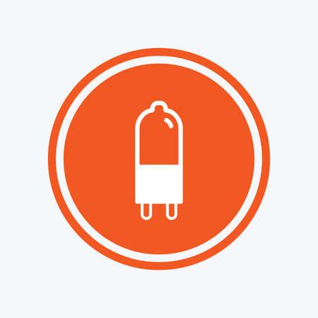 enchufe de luz: Light bulb icon. Lamp G9 socket symbol. Led or halogen light sign. Graphic design element. Flat g9 lamp symbol on the round button. Vector