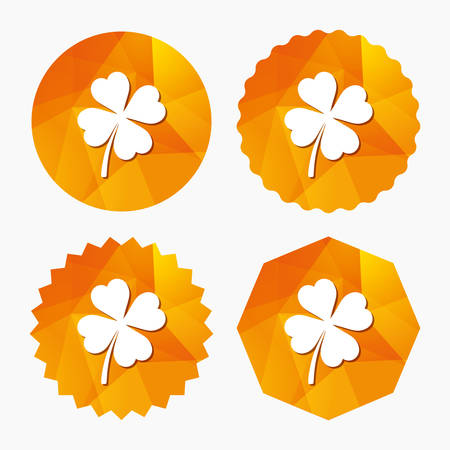 clover buttons: Clover with four leaves sign icon. Saint Patrick symbol. Triangular low poly buttons with flat icon. Vector