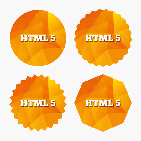 html5: HTML5 sign icon. New Markup language symbol. Triangular low poly buttons with flat icon. Vector