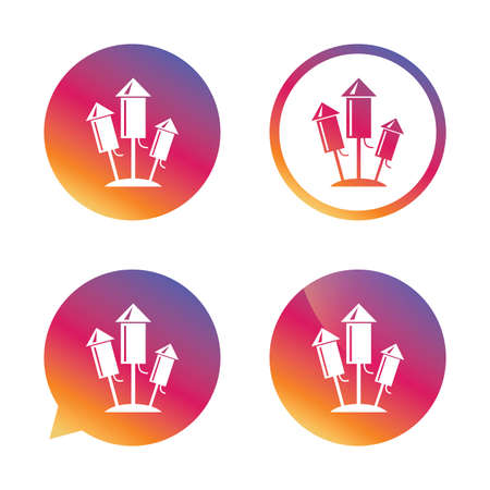 pyrotechnic: Fireworks rockets sign icon. Explosive pyrotechnic device symbol. Gradient buttons with flat icon. Speech bubble sign. Vector