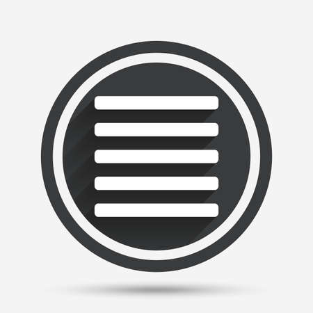the view option: List sign icon. Content view option symbol. Circle flat button with shadow and border. Vector