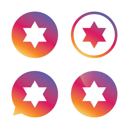 Star of David sign icon. Symbol of Israel. Jewish hexagram symbol. Shield of David. Gradient buttons with flat icon. Speech bubble sign. Vector Illustration