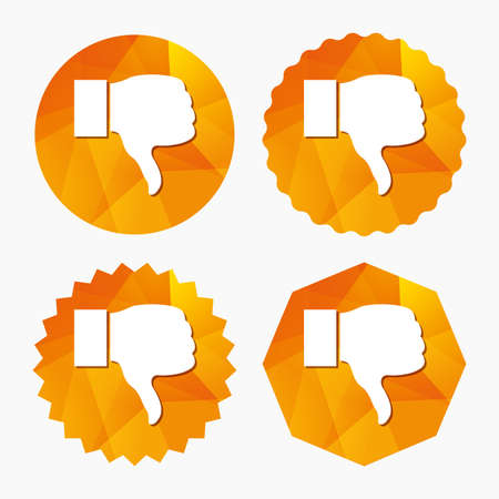 Dislike sign icon. Thumb down sign. Hand finger down symbol. Triangular low poly buttons with flat icon. Vector