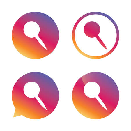 Pushpin sign icon. Pin button. Gradient buttons with flat icon. Speech bubble sign. Vector