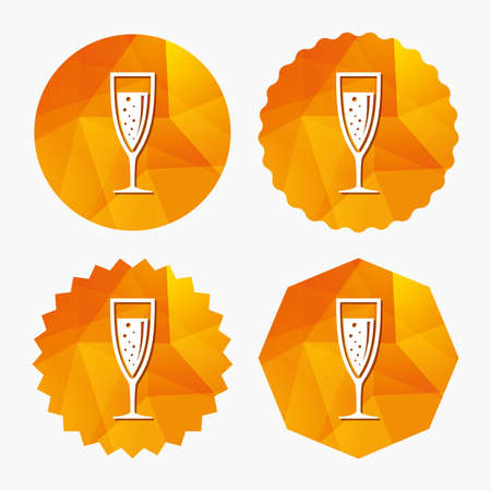 champagne celebration: Glass of champagne sign icon. Sparkling wine with bubbles. Celebration or banquet alcohol drink symbol. Triangular low poly buttons with flat icon. Vector Illustration