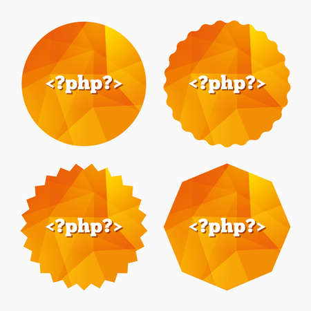 php: PHP sign icon. Programming language symbol. Triangular low poly buttons with flat icon. Vector