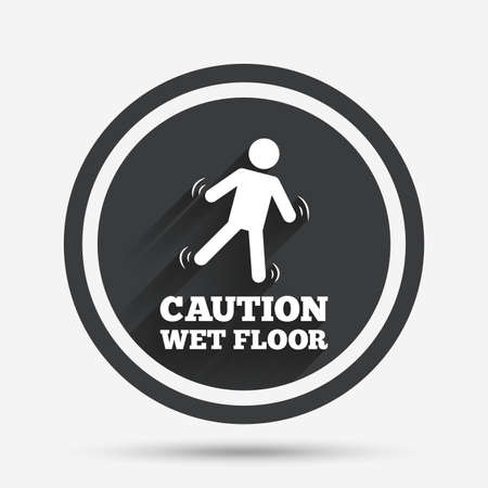 wet floor sign: Caution wet floor sign icon. Human falling symbol. Circle flat button with shadow and border. Vector