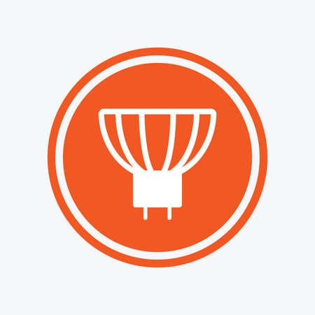 enchufe de luz: icono de la bombilla. Lámpara símbolo zócalo GU5.3. Dirigido o señal de luz halógena. elemento de diseño gráfico. Piso símbolo de luz de GU5.3 en el botón redondo. Vector Vectores