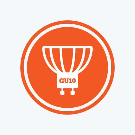 enchufe de luz: Light bulb icon. Lamp GU10 socket symbol. Led or halogen light sign. Graphic design element. Flat gU10 lamp symbol on the round button. Vector