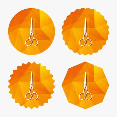 Scissors hairdresser closed icon. Tailor symbol. Triangular low poly buttons with flat icon. Vector Illustration