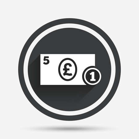 pound coin: Cash sign icon. Pound Money symbol. GBP Coin and paper money. Circle flat button with shadow and border. Vector