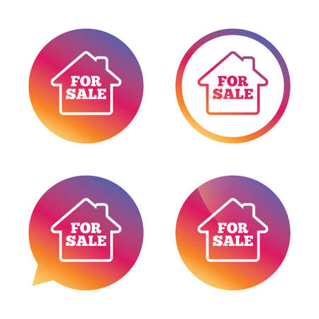 for sale sign: For sale sign icon. Real estate selling. Gradient buttons with flat icon. Speech bubble sign. Vector Illustration