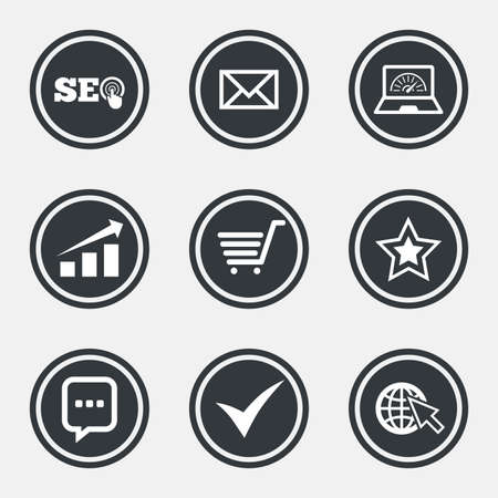 bandwidth: Internet, seo icons. Tick, online shopping and chart signs. Bandwidth, mobile device and chat symbols. Circle flat buttons with icons and border. Vector