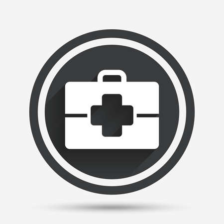 medical case: Medical case sign icon. Doctor symbol. Circle flat button with shadow and border. Vector