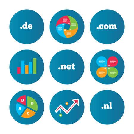 nl: Business pie chart. Growth curve. Presentation buttons. Top-level internet domain icons. De, Com, Net and Nl symbols. Unique national DNS names. Data analysis. Vector Illustration