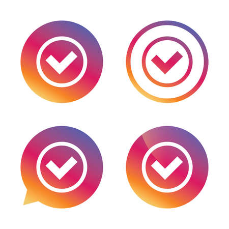 Check mark sign icon. Yes circle symbol. Confirm approved. Gradient buttons with flat icon. Speech bubble sign. Vector