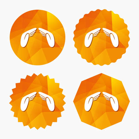 Hands protect cover sign icon. Insurance symbol. Human helping palms. Triangular low poly buttons with flat icon. Vector