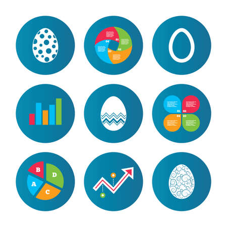 pasch: Business pie chart. Growth curve. Presentation buttons. Easter eggs icons. Circles and floral patterns symbols. Tradition Pasch signs. Data analysis. Vector