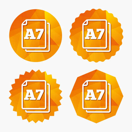 a7: Paper size A7 standard icon. File document symbol. Triangular low poly buttons with flat icon. Vector
