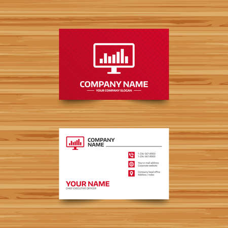 Business card template. Computer monitor sign icon. Market monitoring. Phone, globe and pointer icons. Visiting card design. Vector Illustration