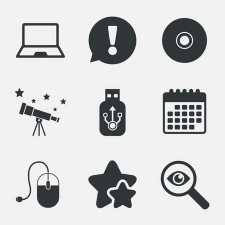 optical disk: Notebook pc and Usb flash drive stick icons. Computer mouse and CD or DVD sign symbols. Attention, investigate and stars icons. Telescope and calendar signs. Vector Illustration