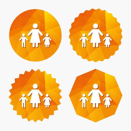 One-parent family with two children sign icon. Mother with son and daughter symbol. Triangular low poly buttons with flat icon. Vector