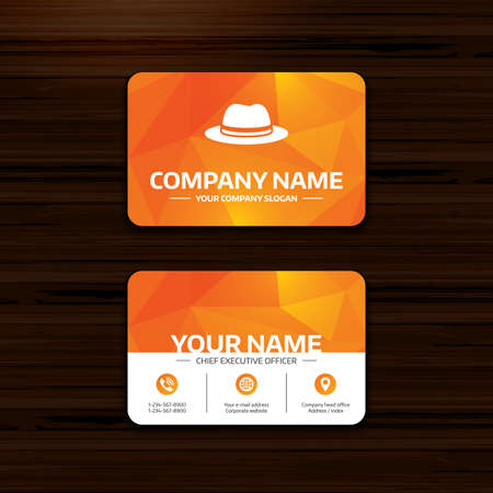 top pointer: Business or visiting card template. Top hat sign icon. Classic headdress symbol. Phone, globe and pointer icons. Vector