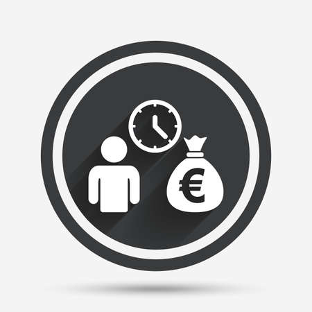 borrow: Bank loans sign icon. Get money fast symbol. Borrow money. Circle flat button with shadow and border. Vector Illustration