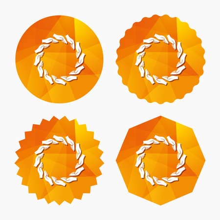 endowment: Donation hands circle sign icon. Charity or endowment symbol. Human helping hand palm. Triangular low poly buttons with flat icon. Vector