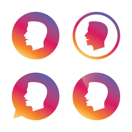 loud noise: Talk or speak icon. Loud noise symbol. Human talking sign. Gradient buttons with flat icon. Speech bubble sign. Vector Illustration