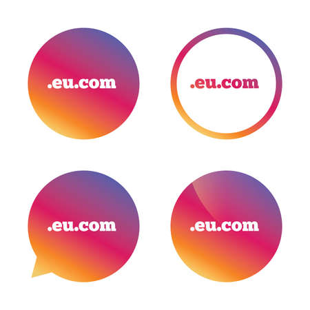 subdomain: Domain EU.COM sign icon. Internet subdomain symbol. Gradient buttons with flat icon. Speech bubble sign. Vector