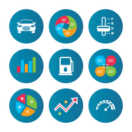 automatic transmission: Business pie chart. Growth curve. Presentation buttons. Transport icons. Car tachometer and automatic transmission symbols. Petrol or Gas station sign. Data analysis. Vector