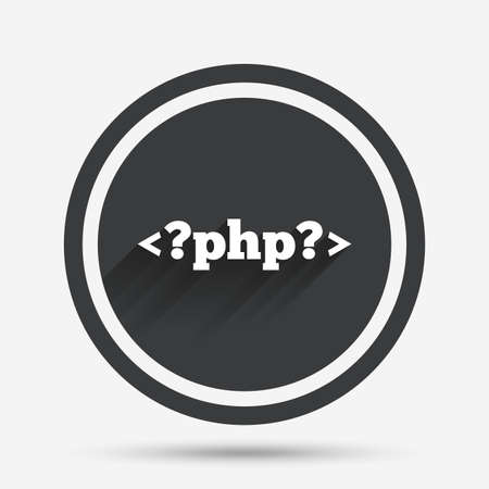 php: PHP sign icon. Programming language symbol. Circle flat button with shadow and border. Vector Illustration