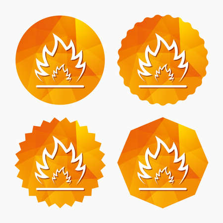 escape: Fire flame sign icon. Heat symbol. Stop fire. Escape from fire. Triangular low poly buttons with flat icon. Vector