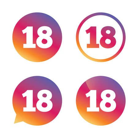 18 years old: 18 years old sign. Adults content icon. Gradient buttons with flat icon. Speech bubble sign. Vector Illustration
