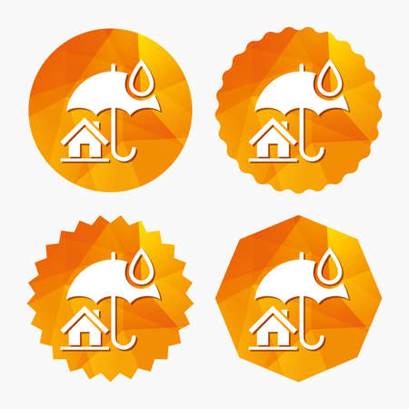 belay: Home insurance sign icon. Real estate insurance symbol. Triangular low poly buttons with flat icon. Vector