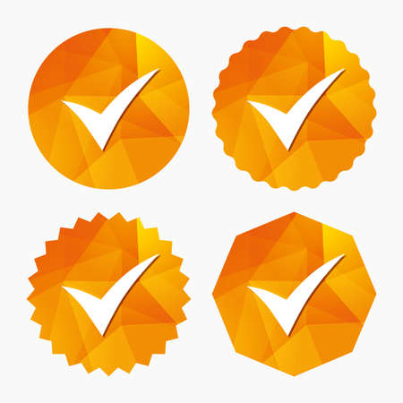 Check sign icon. Yes symbol. Confirm. Triangular low poly buttons with flat icon. Vector