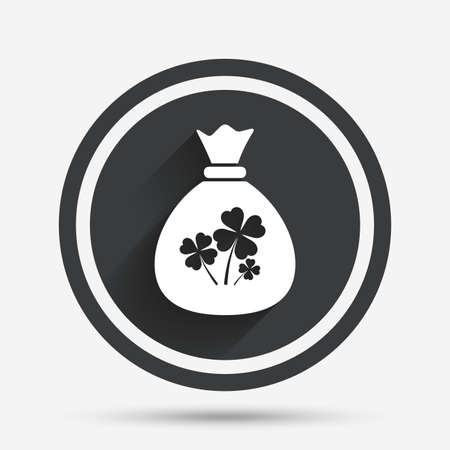 bag icon: Money bag with Clovers sign icon. Saint Patrick symbol. Circle flat button with shadow and border. Vector Illustration