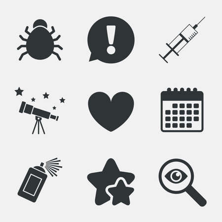 acarus: Bug and vaccine syringe injection icons. Heart and spray can sign symbols. Attention, investigate and stars icons. Telescope and calendar signs. Vector