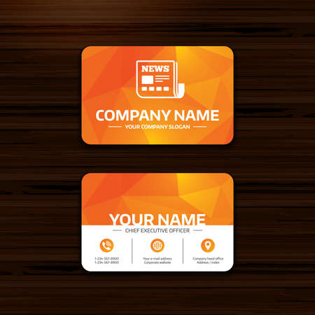 Business or visiting card template news icon newspaper sign business or visiting card template news icon newspaper sign mass media symbol reheart Image collections