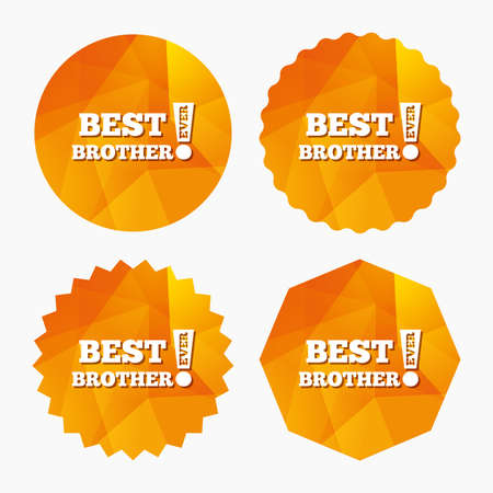 relatives: Best brother ever sign icon. Award symbol. Exclamation mark. Triangular low poly buttons with flat icon. Vector