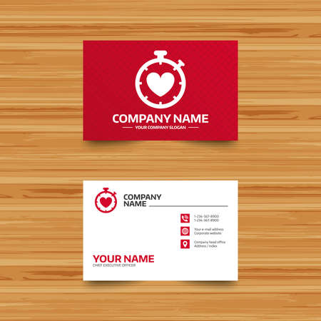 palpitation: Business card template. Heart Timer sign icon. Stopwatch symbol. Heartbeat palpitation. Phone, globe and pointer icons. Visiting card design. Vector Illustration